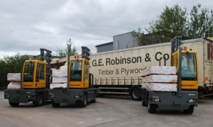 Timber and sheet materials supplier GE Robinson & Co Ltd has taken delivery of seven brand new Baumann GX50 5-tonne side loaders.